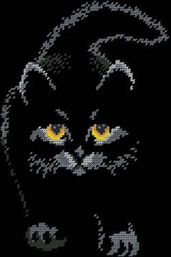 Вышивка крестом кот черный