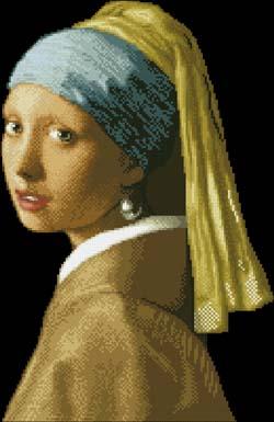 Вышивка девушки с жемчужной сережкой 58
